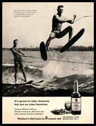 1962 Walkers Deluxe Bourbon Muscular Man With Six Pack Abs Water Skiing Print Ad
