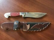Handmade Vintage Hunting Knife In A Leather Case Ussr