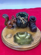 """8"""" Rare Anri Italy Hand Carved Wood Nutcracker Squirrel Bag And Shoe Brass Plate"""