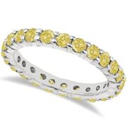 2.00ct Fancy Yellow Canary Round Diamond Eternity Ring Band 14k White Gold