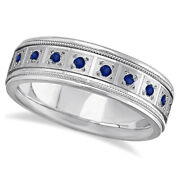 0.80ctw Mens Sapphire Wedding Band 20 Gemstones In Pave Setting 14k White Gold