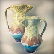 Vintage 90and039s Mackenzie Childs Memphis Post-modern Brittany Pitcher Set