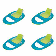Swimways Spring Float Inflatable Recliner Pool Lounger, Aqua And Lime 4 Pack