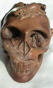 Wooden Hand-carved Human Skull With Rats And Snake