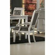 Faux Leather Upholstered Arm Chair, Gray And Silver, Set Of 2