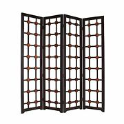 Wooden 4 Panel Screen With Modern Cosmopolitan Design Black And Red