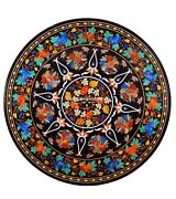 Round Dining Marble Handmade Table Top Inlay Floral With Grapes Arts Decor H491