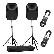 Wharfedale Pro Titan Ax15 15 Active Pa Speakers With Stands And Cables Pair