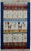 Tribal Little Animals Moroccan Oriental Area Rug Hand-knotted Plush Nomadic 4x6