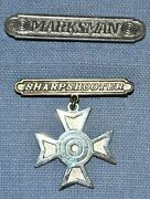 M1912 Marksman And M1912 Sharpshooter Badge - H+h And Sterling Ser. 135 Marked