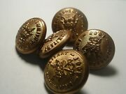 5 Antique Brass Patriarchs Militant Ioof Odd Fellows Coat Buttons By Superior