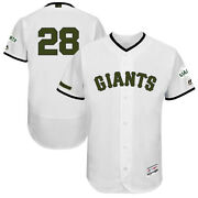 Buster Posey 28 San Francisco Giants Menand039s Majestic White Memorial Jersey
