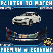 New Painted To Match Front Bumper For 2016 2017 Honda Accord Coupe W/ Park 16 17