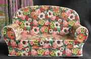 1930s Art Deco Chintz Floral Miniature Furniture Sofa Couch Candy Container Box