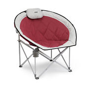 Core Equipment 40142 Oversized Padded Moon Outdoor Camping Folding Chair, Wine