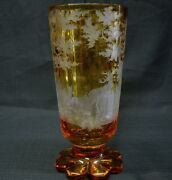 1880s Antique Amber Bohemian, Czech Cut Glass Vase Engraved Deer And Trees
