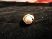 18k Y Gold Mabe Pearl Ladys Ring S-9 Estate Find