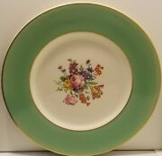Syracuse Green Wide Band Floral Center Dinner Plates