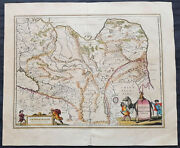 1639 Jansson Large Original Antique Map Of Tartary China Central Asia Siberia