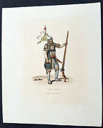 1814 William Alexander Antique Print Of A Chinese Soldier With Matchlock Rifle