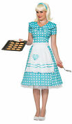 50and039s Housewife Costume Teal And White Polka Dot Dress Sock Hop Adult Size Xs/sm