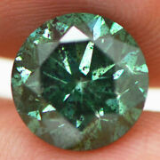 Loose Green Diamond 3 Carat Round Fancy Color I1 Natural Enhanced 8.77x8.74 Mm