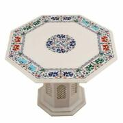 30 White Marble Table Top Handmade Inlay Semi Precious Stones With Marble Stand