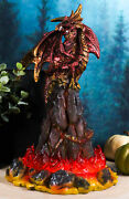 Red Burning Volcano Fire Dragon On Magma Lava Rock Mountain Led Light Statue
