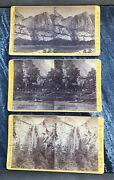Lot Of 3 Anthony Yosemite And Bridal Falls Hutchins Hotel Photo Stereoview Cards