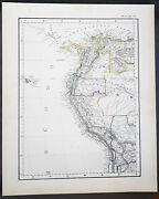 1854 Handtke And Flemming Antique Map Of Nw South America Venezuela, Peru, Chile