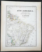 1854 Handtke And Flemming Large Antique Map Of Brazil, South America 41147