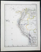 1854 Handtke And Flemming Antique Map Of Nw South America Chile, Peru, Venezuela