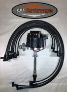 Small Block Chevy Sbc Hei Distributor Black + Spark Plug Wires Under Exhaust