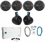 4 Rockville Rmsts65b 6.5 1600w Marine Boat Speakers+8 Wakeboards+amp+wire Kit