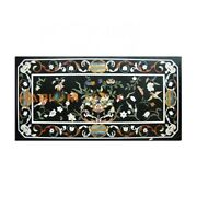 4and039x2and039 Black Marble Dining Table Top Floral With Birds Home Furniture Decor B359