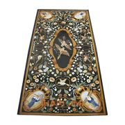 4and039x2and039 Black Marble Dining Top Table Birds With Floral Marquetry Inlay Decor B364
