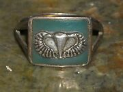 Vintage Wwii Army Airborne Sterling Silver Enamel Or Wax Cast Ring Sz 7 1/2