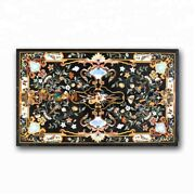 4and039x3and039 Marble Dining Table Scagliola Black Cafeteria Home Top Inlay Decor B374