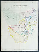 1852 John Arrowsmith Rare Antique Map The First Electoral Districts Of Tasmania