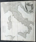 1743 D Anville And Ca Coypel Large Antique Map Of Italy, Sicily, Sardinia, Corsica