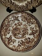 Set Pc Vtg Tonquin Royal Staffordshire Brown Saucer Dinnerware By Clarice Cliff