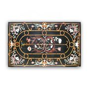 4and039x3and039 Black Marble Dining Table Semi Marquetry Rare Inlay Living Home Decor B396