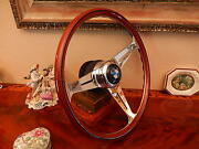 Bmw E9 2800 Cs Wood Steering Wheel 15.3 Hub/boss Large Bmw Horn Button New