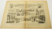 Two Page 1884 Engraving Canadian Pacific Railway Survey-party, Rocky Mountains