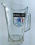 Vintage 1984 Olympics Glass Beer Pitcher Los Angeles Usa Memorabilia Michelob