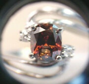 Rich Cognac Color Natural Diamond 1.32 Cts Cushion Oval Cut 14k White Gold Ring
