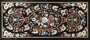 28and039and039x55and039and039 Black Marble Table Dining Top Semi Precious Inlaid Kitchen Decor B294