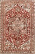 Collective Antique Geometric Red 8and039x12and039 Heriz Serapi Vegetable Dye Wool Area Rug