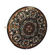 48and039and039 Round Scagliola Marble Dinner Table Fine Stone Top Hallway Inlay Decor B429