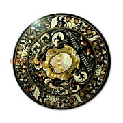 38and039and039 Round Marble Dining Table Top Scagliola Black Inlay Real Garden Decor B435